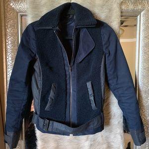 Sz 2 Lacoste navy Sherpa moto jacket